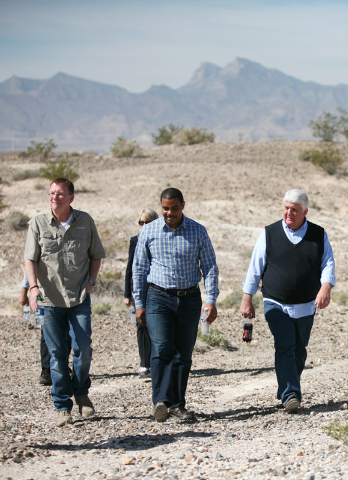 Jon Porter, former representative for Nevada's 3rd Congressional district, from left, Rep. Steven Horsford, D-Nev., and Rep. Rob Bishop, R-Utah, tour a portion of the proposed Tule Springs  ...