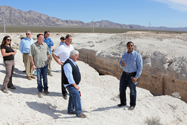 Rep. Rob Bishop, R-Utah, front center, listens to Rep. Steven Horsford, D-Nev., right, speak during a tour a portion of the proposed Tule Springs Fossil Beds National Monument Monday, March 17, 10 ...