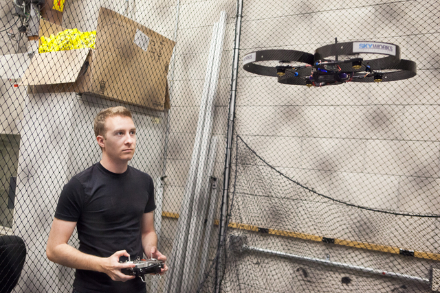 UNLV mechanical engineering senior Greg Friesmuth operates an unmanned aerial system, otherwise known as a drone, in a lab at the Thomas Beam Engineering Complex on the campus of the University of ...