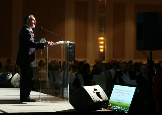 """Don Snyder, interim president of UNLV, speaks during the Las Vegas Metro Chamber of Commerce """"Business Power Luncheon"""" at the Four Seasons Las Vegas Wednesday, March 19, 2014. Snyder ..."""