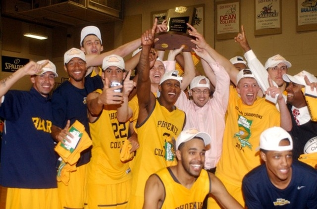 Phoenix College celebrates its win Saturday night over Essex County College of Newark, N.J., in the NJCAA Division II basketball national championship game at Danville, Ill. (Susan Joy/McKinney-Co ...