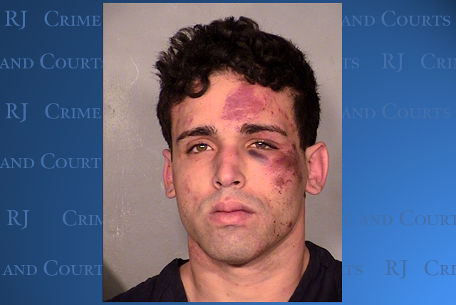 "Joey Kadmiri, 24, of Las Vegas was roughed up by members of ""Thunder From Down Under"" after police said he stole some of their costumes and makeup. (Courtesy/LVMPD)"