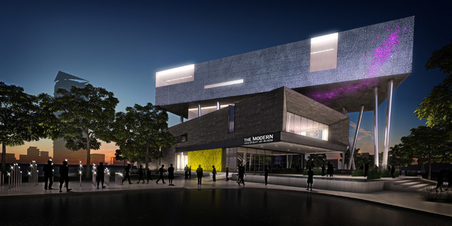 A drawing of the proposed Modern Contemporary Art Museum, to be located on Charleston Boulevard and Art Way in the downtown arts district. (FILE)
