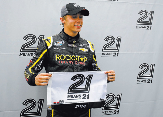Dylan Kwasniewski poses for a photo after capturing the pole position Feb. 21 for the NASCAR Nationwide Series' season-opening race at Daytona International Speedway. The 18-year-old Kwasniewski ...
