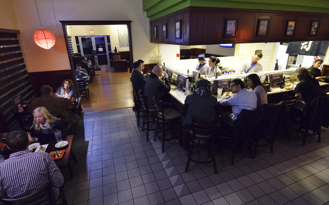 The interior of Blue Fin Sushi is shown at 3980 E. Sunset Road in Las Vegas on Saturday, Feb. 22, 2014. (Bill Hughes/Las Vegas Review-Journal)