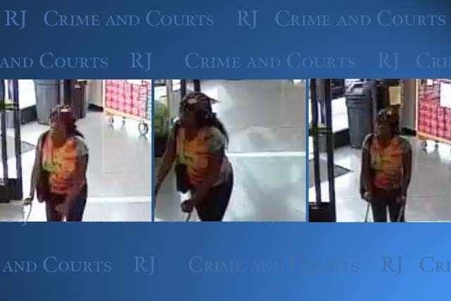 Las Vegas police are looking for a woman who struck a security officer and fled after she was approached about items she had concealed in a bag. Anyone with information is urged to call the Las Ve ...