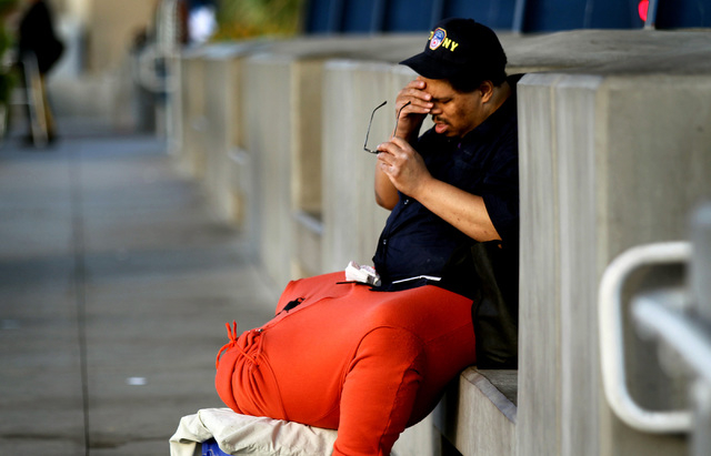 JEFF SCHEID/LAS VEGAS REVIEW-JOURNAL Wesley Warren waits for a bus at the Bonneville Transit Center on October 4, 2011. Warren has a condition called scrotal edema.