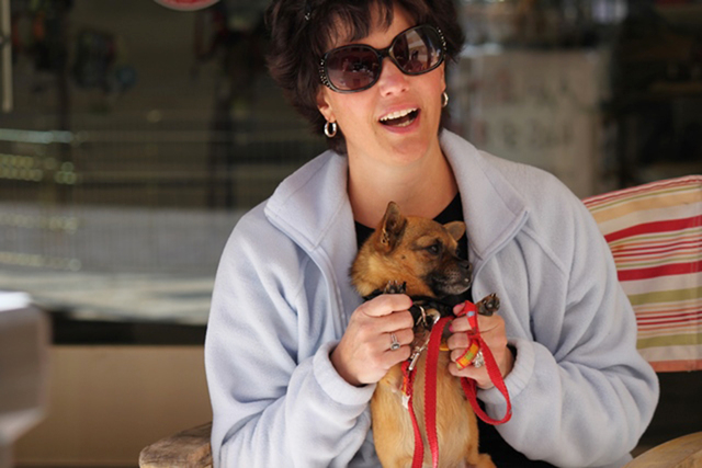 Amanda Dawson, a volunteer with A Home 4 Spot, holds the dog she is fostering on May 2012 in Las Vegas. (Special to View)
