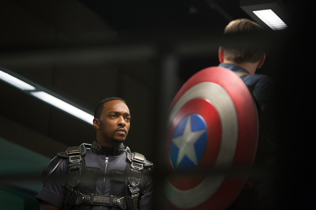 "This image released by Marvel shows Anthony Mackie in a scene from the film, ""Captain America: The Winter Soldier."" The movie releases in theaters on Friday, April 4, 2014. (AP Photo/Mar ..."