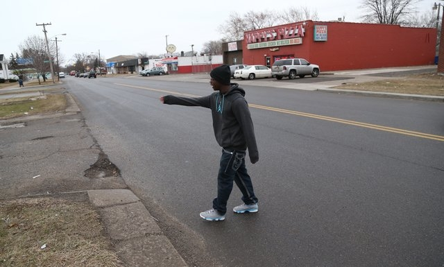 Desmond Key talks about the auto accident that involved 10 year-old David Harris Thursday, April 3, 2014. Harris was hit by a car crossing Morang street on Detroit's east side, Wednesday, April 2, ...