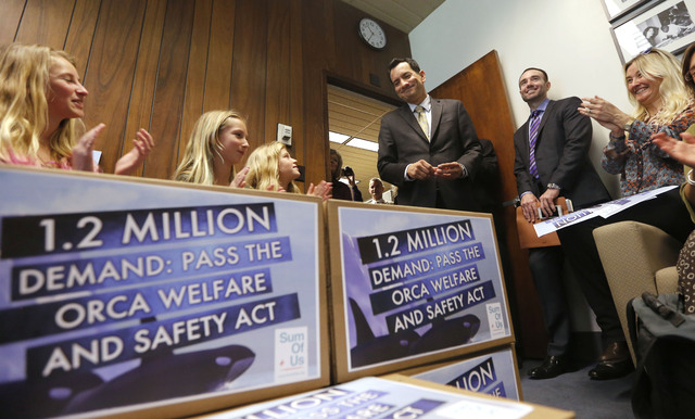 Supporters of a bill that bans holding killer whales for performance and entertainment purposes applaud Assemblyman Anthony Rendon, D-Lakewood, center, for pledging his support of the measure, Mon ...