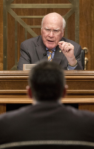 Senate subcommittee on State, Foreign Operations and Related Programs  Chairman Sen. Patrick Leahy, D-VT., top, questions US Agency for International Development (USAID) Administrator Dr. Rajiv Sh ...