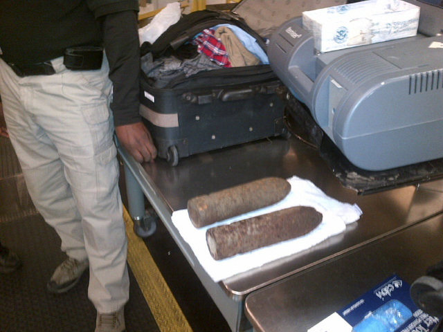 Two World War I artillery shells were discovered by baggage screeners in checked luggage that arrived on a flight from London at Chicago's O'Hare International Airport on Monday. The TSA says the  ...