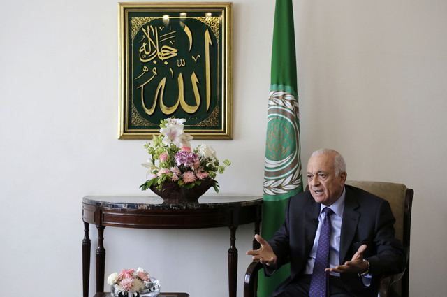 Arab League Secretary-General Nabil Elaraby speaks during an interview with the Associated Press, in Cairo, Egypt, Thursday, April 10, 2014. The head of the Arab League said Thursday he is confide ...