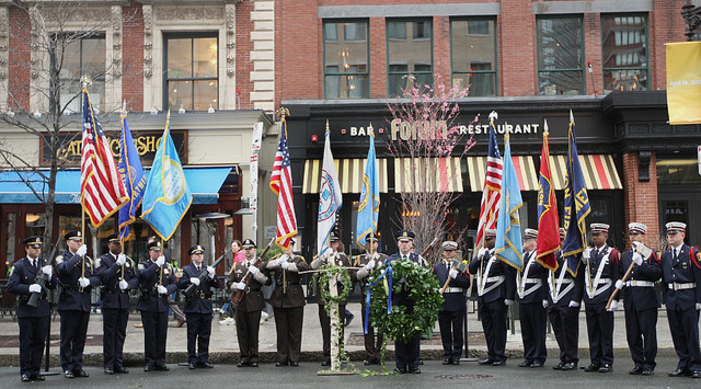 Honor Guard members line up in front of the Forum Restaurant in Copley Square where a wreath-laying ceremony was held to commemorate the one-year anniversary of the Boston Marathon bombings, Tuesd ...