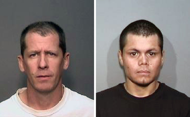 This combination of undated photos from the Megan's Law website shows suspects, Stephen Dean Gordon, 45, left, and Franc Cano, 27, who were arrested on Friday, April 11, 2014, on suspicion of kill ...