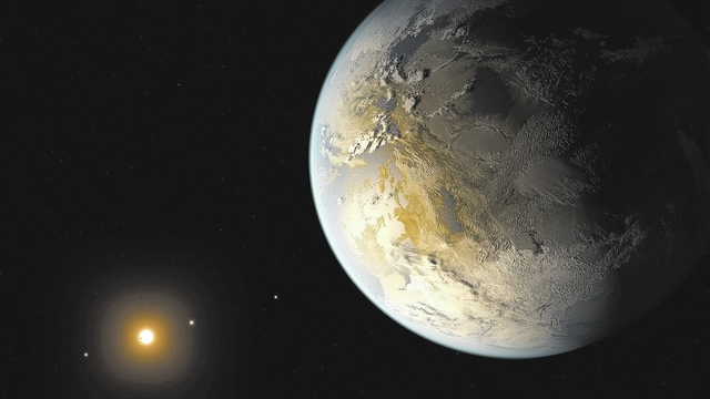 This artist's rendering provided by NASA on Thursday, April 17, 2014 shows an Earth-sized planet dubbed Kepler-186f orbiting a star 500 light-years from Earth. Astronomers say the planet may hold  ...