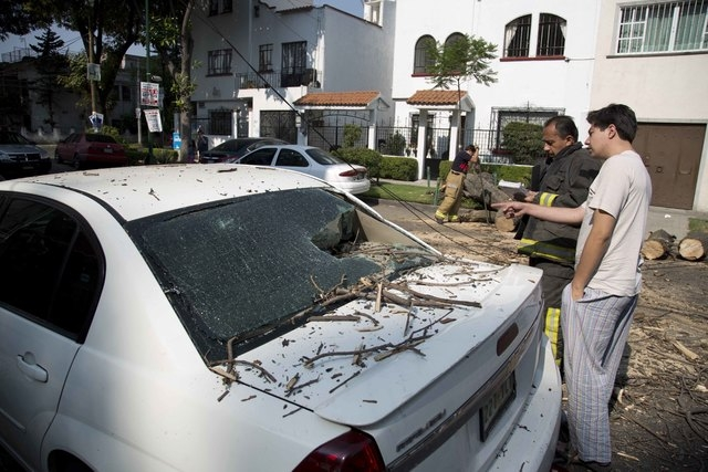A man talks with a fireman after a tree fell on his car at the Narvarte neighborhood after a strong earthquake jolted Mexico City, Friday, April 18, 2014. The powerful magnitude-7.2 earthquake sho ...