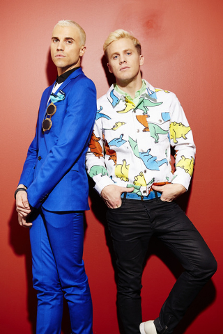 "Tyler Glenn, left, and Chris Allen, of the band Neon Trees, pose for a portrait to promote the band's upcoming third album, ""Pop Pyschology,"" on Tuesday, April 22, 2014 in New York. (Pho ..."