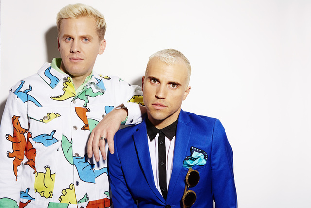 "Chris Allen, left, and Tyler Glenn, of the band Neon Trees, pose for a portrait to promote the band's upcoming third album, ""Pop Pyschology,"" on Tuesday, April 22, 2014 in New York. (Pho ..."