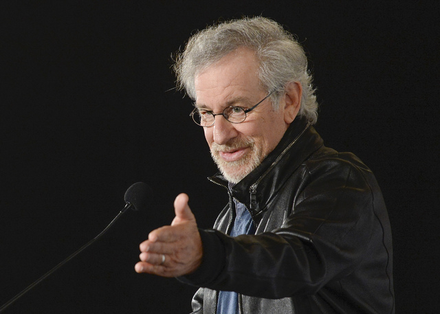 This image provided by the University of Southern California shows director Steven Spielberg speaking during the USC Shoah Foundation's announcement of the Center for Advanced Genocide Research at ...