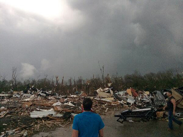 This photo provided by James Bryant shows tornado damage, Sunday, April 27, 2014 in Mayflower, Ark. A powerful storm system rumbled through the central and southern United States on Sunday, spawni ...