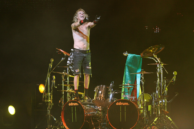 James Kottak, drummer of the German rock band Scorpions, gestures during the band's farewell tour in La Paz, Bolivia, in this Thursday, Sept. 16, 2010, file photo. Newspapers in the United Arab Em ...