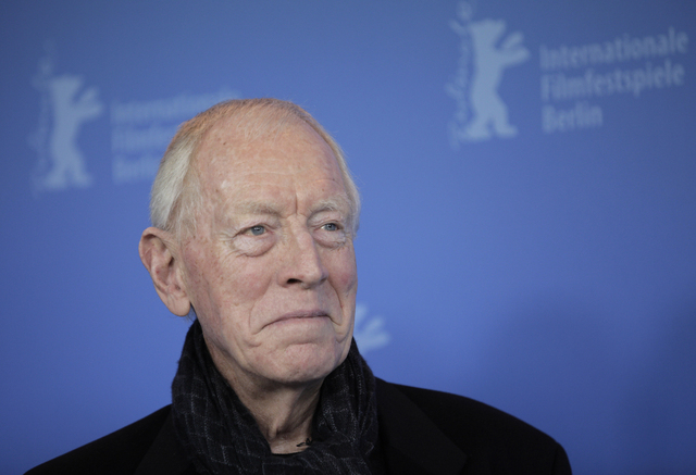 FILE - In this Feb. 10, 2012 file photo, actor Max von Sydow poses at the photo call for the film Extremely Loud and Incredibly Close during the 62 edition of International Film Festival Berlinale ...