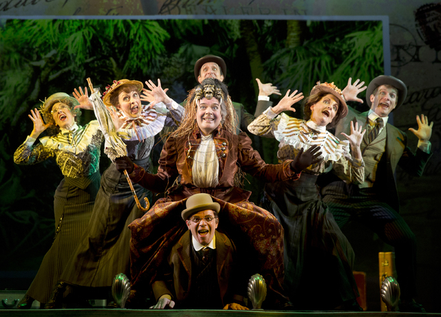 """FILE - This undaed file theater image released by The O+M Company Jefferson Mays, center, during a performance of """"A Gentleman's Guide to Love and Murder,"""" at the Walter Kerr Theatre in  ..."""