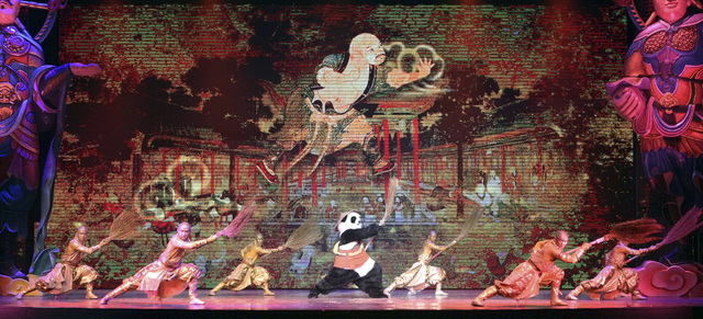 """In this Jan. 3, 2014, file photo, actors perform during a preview of """"PANDA!"""" in the Palazzo Theater at the Palazzo hotel-casino in Las Vegas. PANDA! is the first Chinese-produced show to take up  ..."""