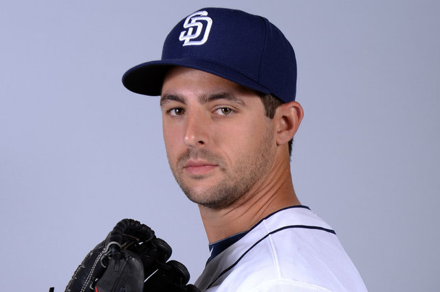 San Diego Padres pitcher Donn Roach poses during photo day at the Peoria Sports Complex during spring training in Arizona. Roach made his major league debut against the Dodgers on Wednesday. (Joe  ...