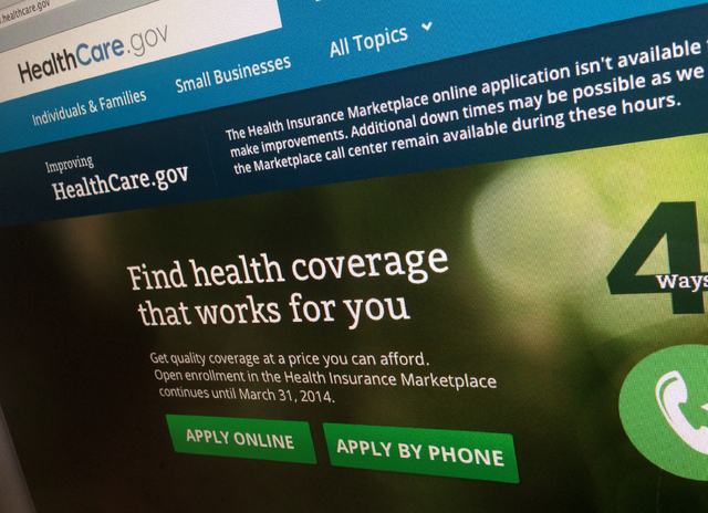 FILE - This photo of part of the HealthCare.gov website is photographed in Washington, in this Nov. 29, 2013 file photo. Newly released federal figures, as of Nov. 30, 2013, show more people are p ...