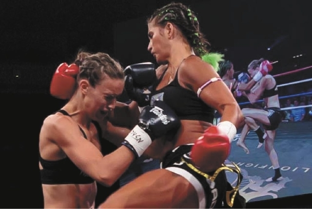 Tiffany van Soest, right, a Muay Thai fighter with Lion Fight Promotions at the Joint in Las Vegas. (Las Vegas Business Press file photo)