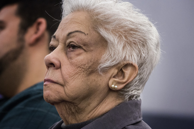 Bertha Triana, 80, of Las Vegas as seen Monday, April 7, 2014 at Regional Justice Center during a multibillion dollar lawsuit against Takeda Pharmaceuticals. Delores Cipriano, 81, of Henderson eac ...