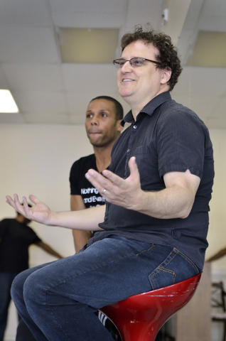 """Bernard Gaddis, founder, choreographer and artistic director for Las Vegas Contemporary Dance Theater, left, and composer Martin St. Pierre are shown during a company rehearsal for """"Alice Dow ..."""