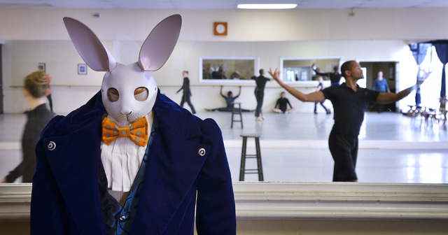 """The costume for the White Rabbit is shown during a Las Vegas Contemporary Dance Theater rehearsal for """"Alice Down the Rabbit Hole"""" at the Kravenko Youth Ballet and Academy of Dance at 25 ..."""