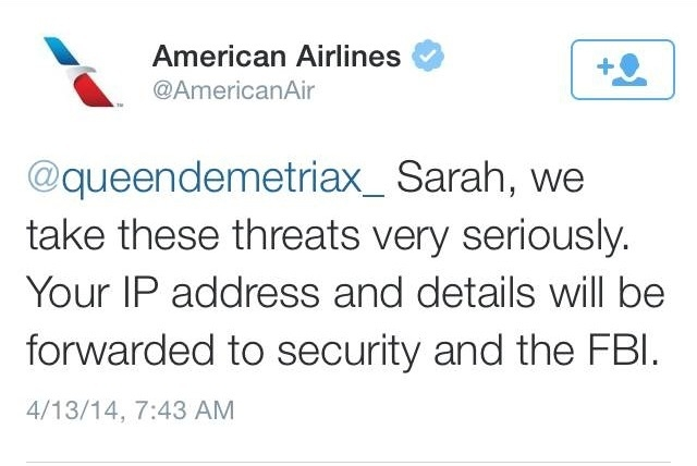 American Airlines responded on Twitter to a potentially threatening tweet from a user who later said she was joking. (@AmericanAirlines/Twitter)