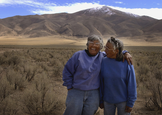 Carrie, left, and Mary Dann pose together on their ranch near Crescent Valley, Nev., Oct. 3, 2002. The two Western Shoshone sisters battled the federal government for 30 years over their tribe's c ...