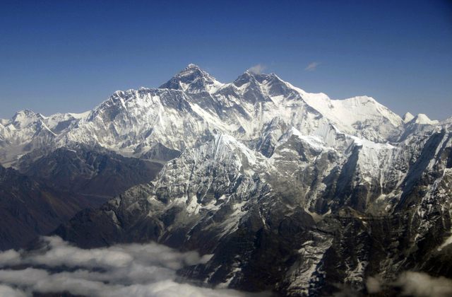 This file photo shows Mount Everest from an aerial view taken over Nepal.  (AP Photo/Jody Kurash, File)