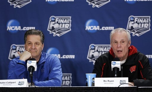 Kentucky head coach John Calipari, left, and Wisconsin head coach Bo Ryan, right, participate in a joint news conference for their NCAA tournament semifinal game on Thursday. Wisconsin plays Kentu ...