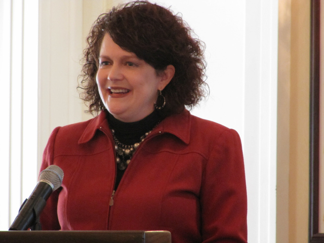 Nevada's first lady Kathleen Sandoval launches Strong Start Nevada at a news conference Tuesday, April, 22, 2014, at the Governor's Mansion in Carson City, Nev. Sandoval called on businesses and c ...