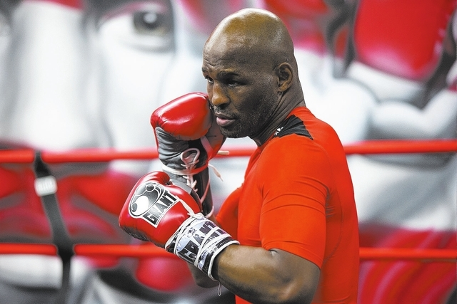 IBF light heavyweight boxing champion Bernard Hopkins trains during a media workout Thursday, April 10, 2014, in Philadelphia. Hopkins will attempt to become the oldest fighter in boxing history t ...