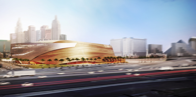 An arena being built by AEG, a Los Angeles-based entertainment and arena management company, and MGM Resorts Internationals, is shown in this rendering of the west view made available to the Las V ...