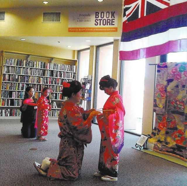 """The Tendo Baikoki Japanese Culture sponsored a """"How to Wear a Kimono"""" workshop during the 2013 Asian Pacific Dreams Festival at the Green Valley Library. (Special to View)"""