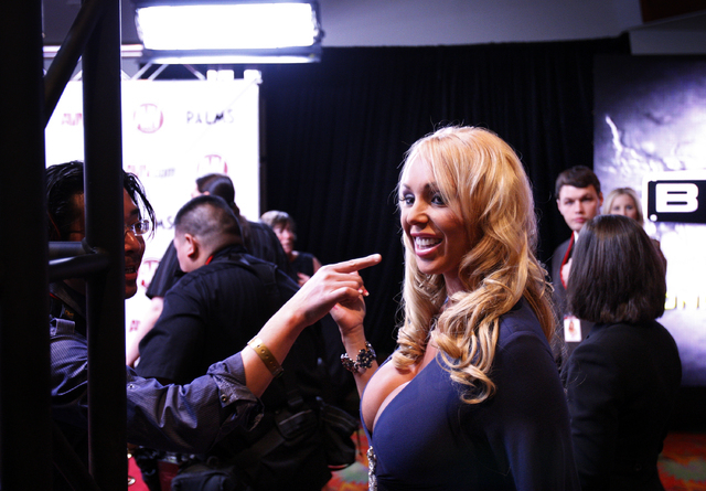Adult film actress Mary Carey prepares to walk along the red carpet at the 2011 AVN Awards at the Palms Casino in Las Vegas. (JOHN LOCHER/LAS VEGAS REVIEW-JOURNAL)
