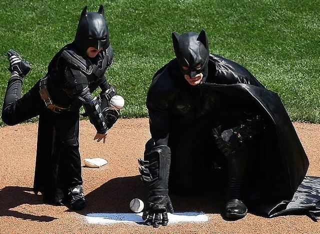 San Francisco's Batkid threw the first pitch at the San Francisco Giants' home opener on Tuesday. (MLB/Twitter)
