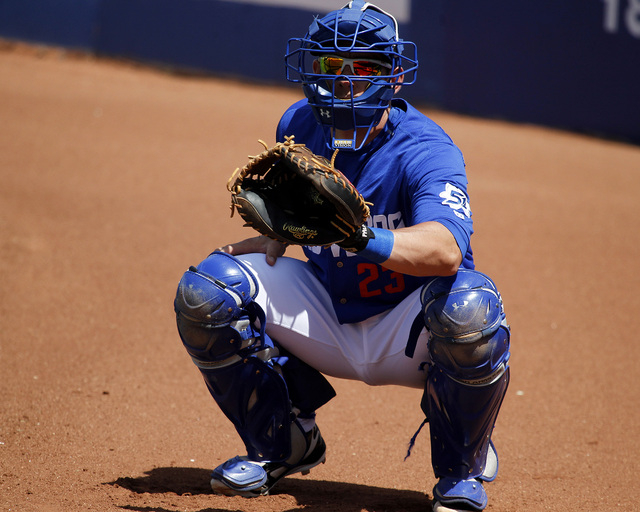 Catcher Taylor Teagarden, seen in the bullpen at Cashman Field on Sunday, has played a key role in Las Vegas' strong start this season. The 51s are 18-7 and in first place in their division. (Ju ...