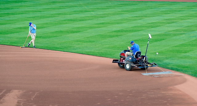Grounds manager Kevin Moses, right, and Casey Scheller drag the infield before the start of a Las Vegas 51s minor league baseball game against Sacramento at Cashman Field on Monday, April 7, 2014. ...