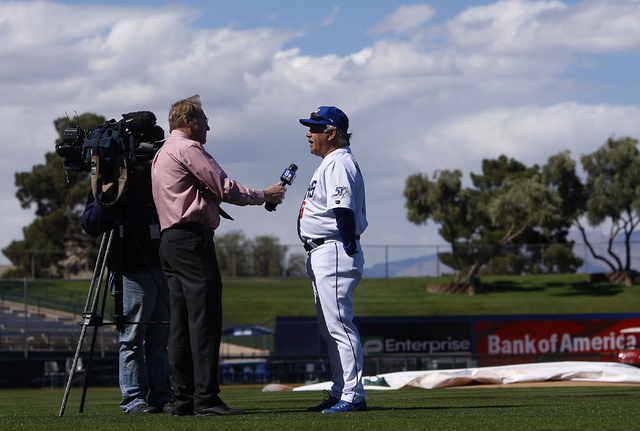Las Vegas 51s manager Wally Backman is interviewed during the team's organized media day at Cashman Field on Tuesday. (Jason Bean/Las Vegas Review-Journal)