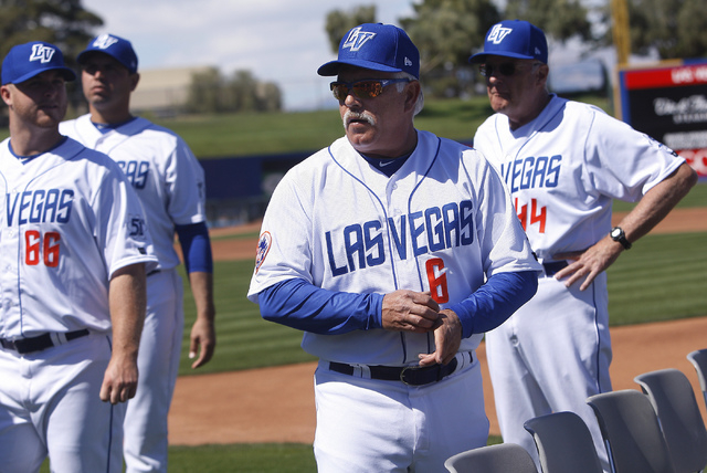 Las Vegas 51s manager Wally Backman (6) attends the team's organized media day at Cashman Field on Tuesday. (Jason Bean/Las Vegas Review-Journal)